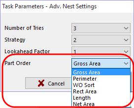 Part order option for advanced nesting